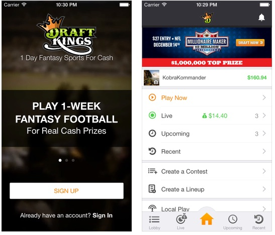 what are the functions and design of draftkings mobile