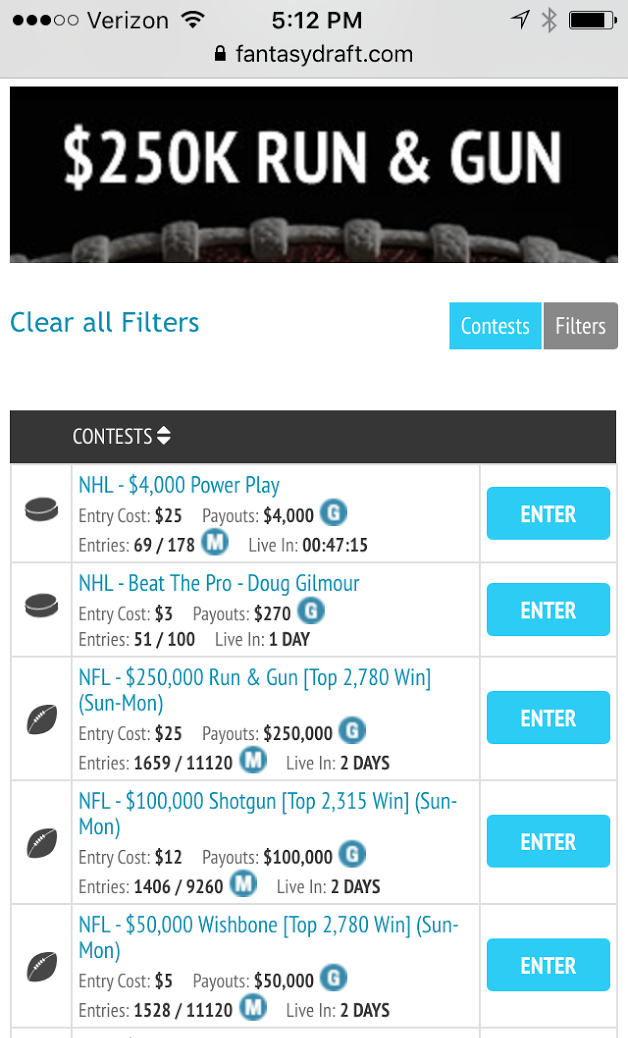 can you enter fantasydraft through your mobile