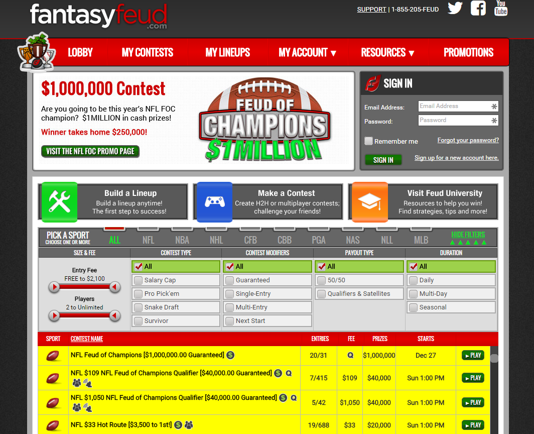 does fantasy feud offer many sports promotions